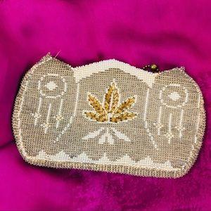 Handbags - Owl Beaded Belt Bag or Clutch  in gold/cream